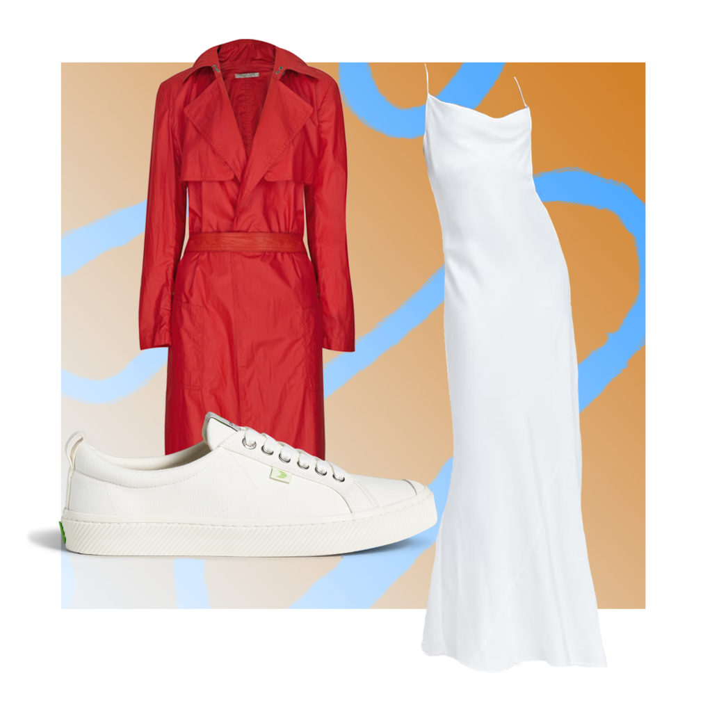 Collage with a red duster, a white slip doress, and white sneakers