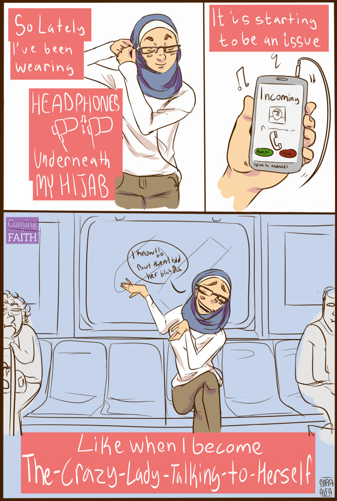 Comic of a woman wearing headphones under her hijab on the subway.