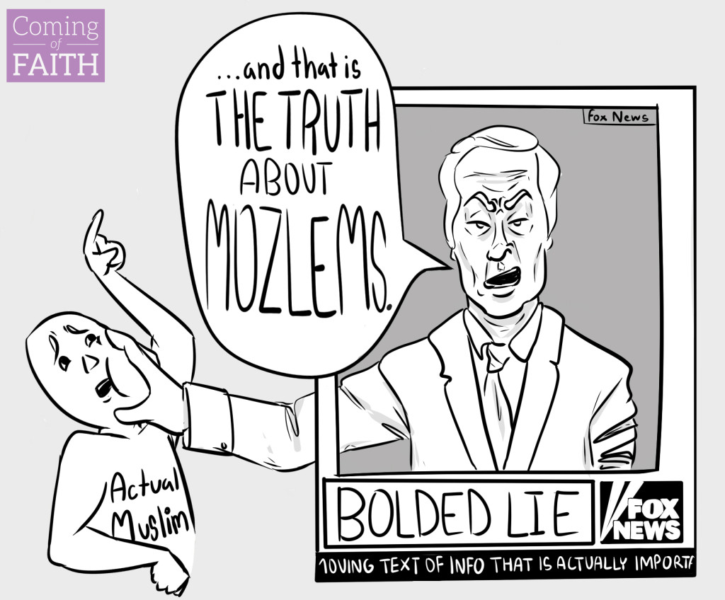 comic about how Fox News talks about Muslims