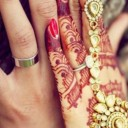 Hand with henna on top of a hand