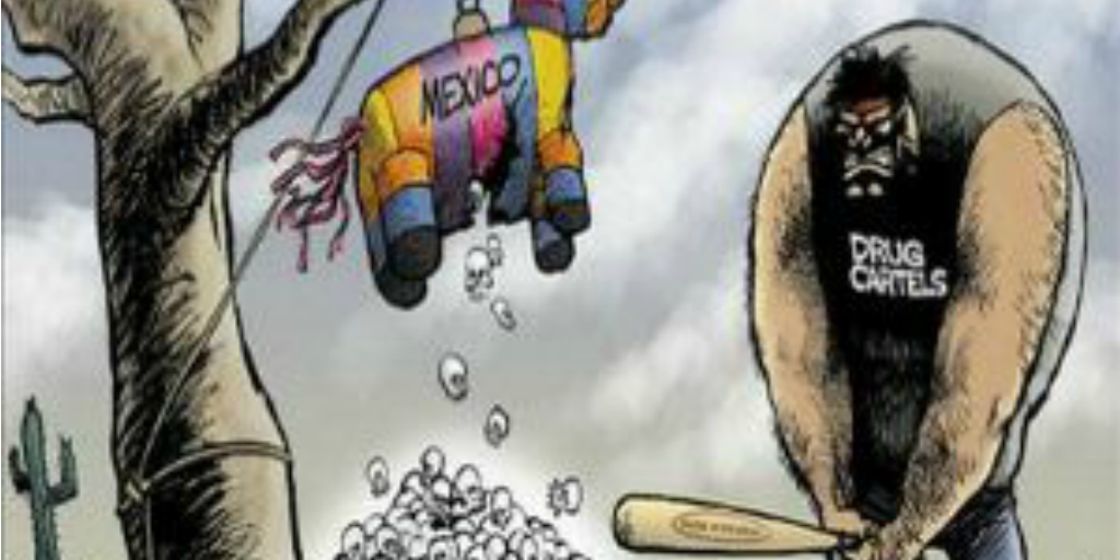 Political satire cartoon illustrates the problems Mexico faces from drug cartels