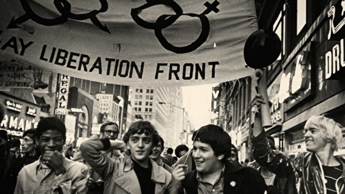 People protesting during the Stonewall riots.