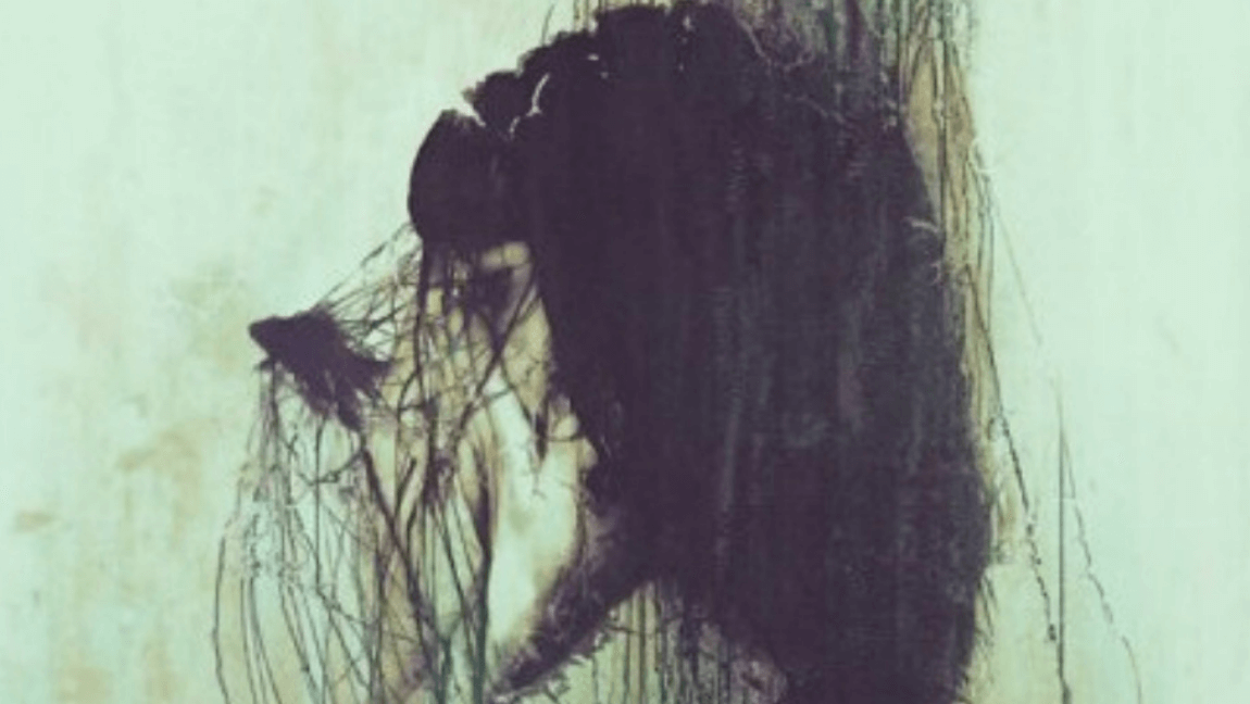 [Image description: Abstract art of a sad woman.] via favim.com