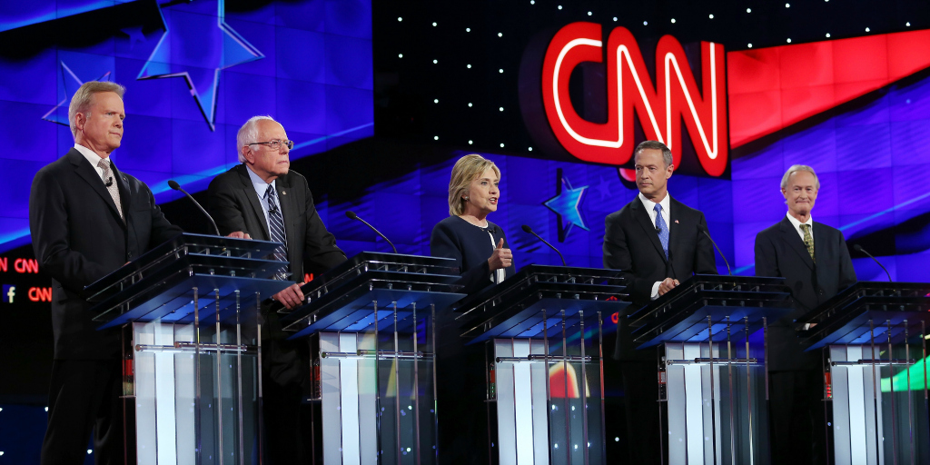 Clinton, Sanders, and O'Malley at the first Democratic primary debate.