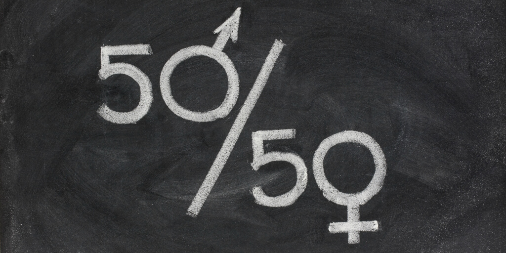 A 50/50 with the male and female symbols written on a chalkboard Pinterest