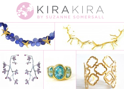 "A collage of gold, blue, and green pieces of jewelry, titled, above there is text reading ""KiraKira by Suzanne Somersall"""