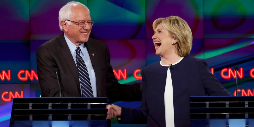 Sanders and Clinton onstage - your guide to the Democratic nominees