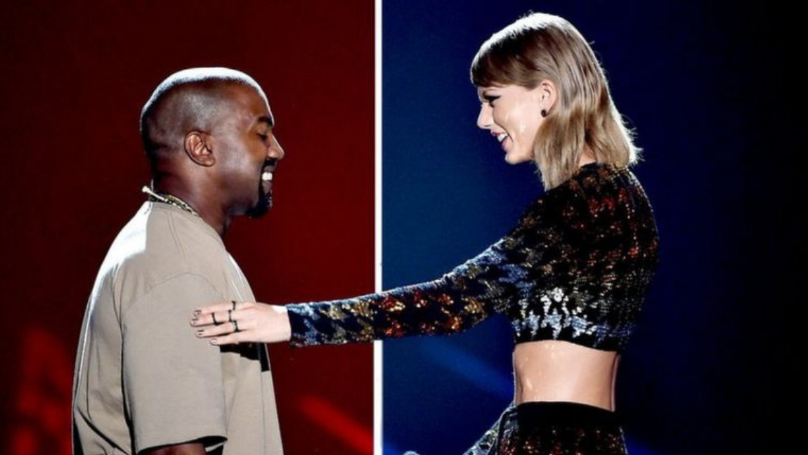 Taylor Swift and Kanye West smiling & talking during the 2015 Grammys