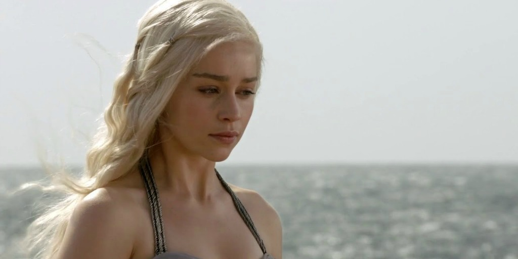 Actress Emilia Clarke in a Game of Thrones episode.