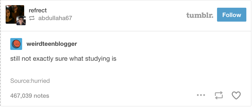 Tumblr screenshot not sure what studying is
