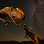 Two dinosaurs behind a starlit background.
