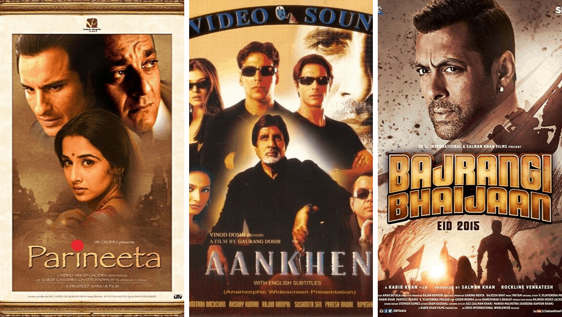 [Image description: Three Bollywood movie posters set side by side.] via Wikimedia