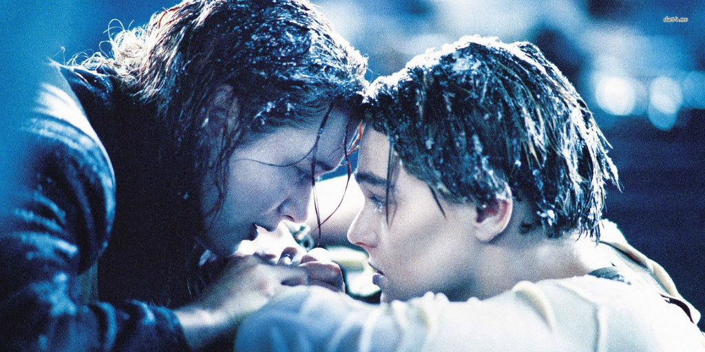 Iconic image of Rose and Jack from Titanic