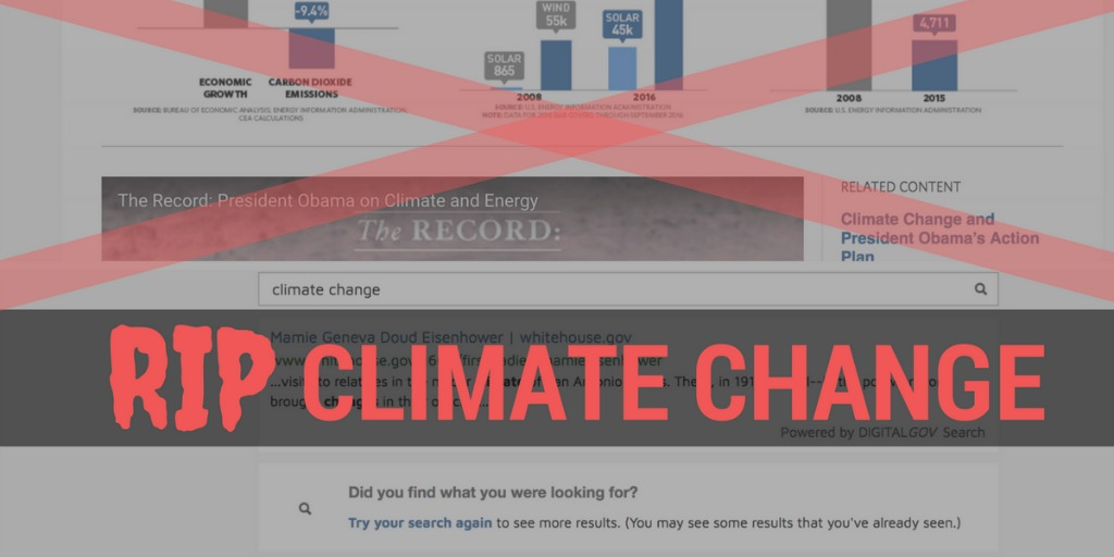 Climate change pages deleted