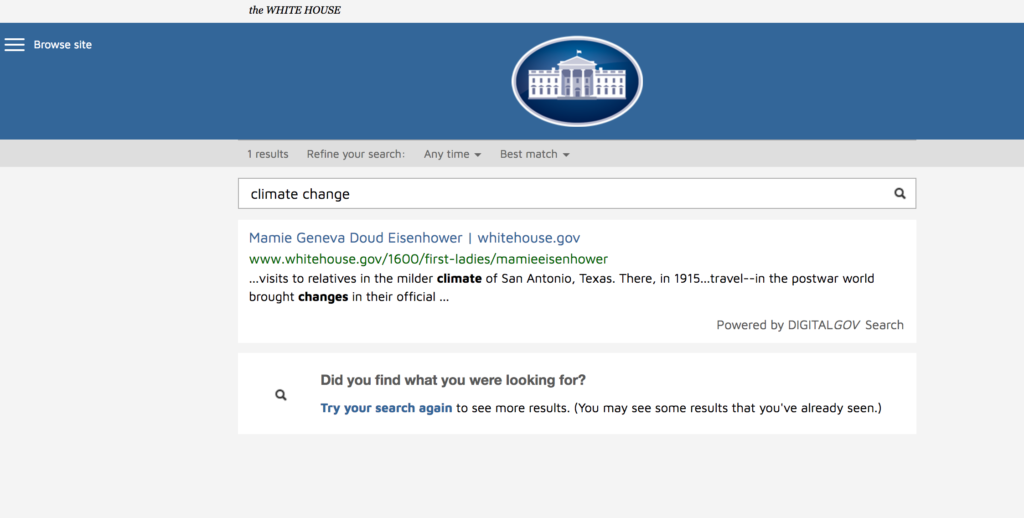 Screenshot of search result for climate change on the White House website after Trump's inauguration.