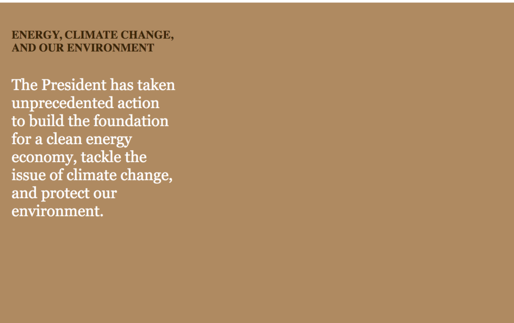 Web cache result for climate change and energy information previously on the White House website.