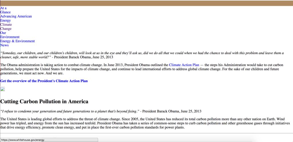 Web cache result for climate change on whitehouse.org