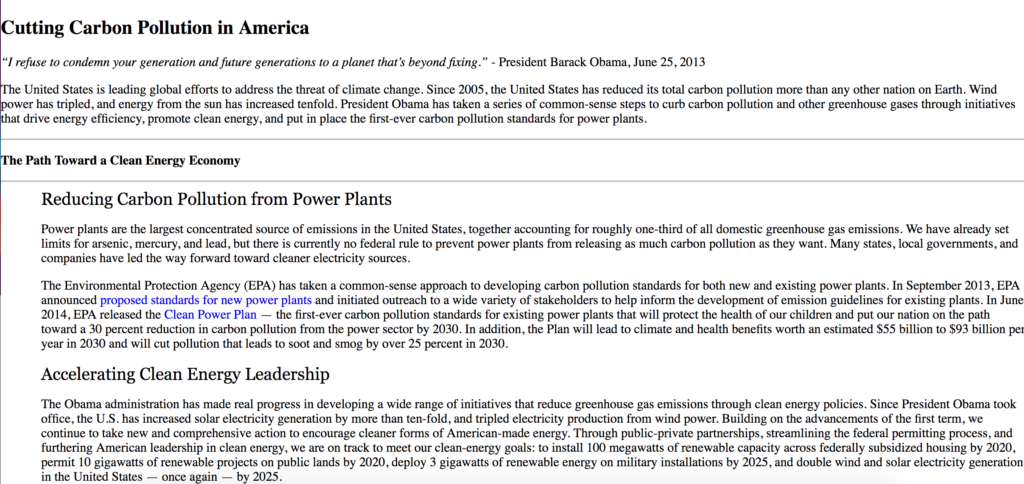 Web cache result for climate change on whitehouse.gov