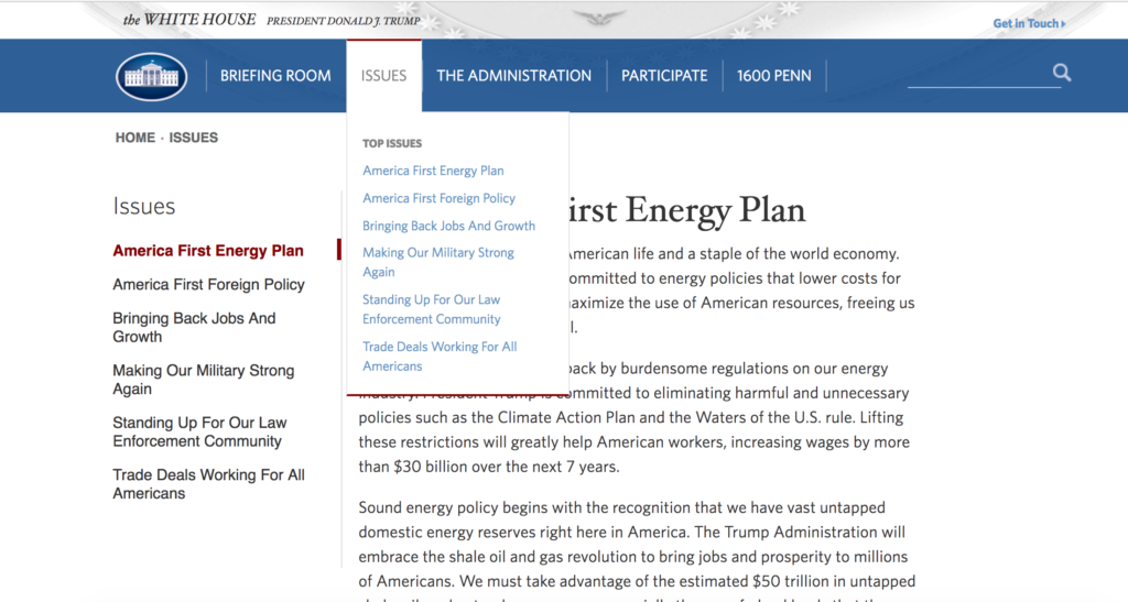 Issues under the Trump Administration