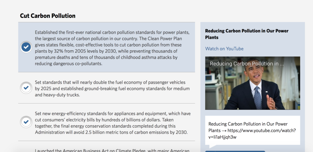 Web archive of the Climate Change page on the White House website