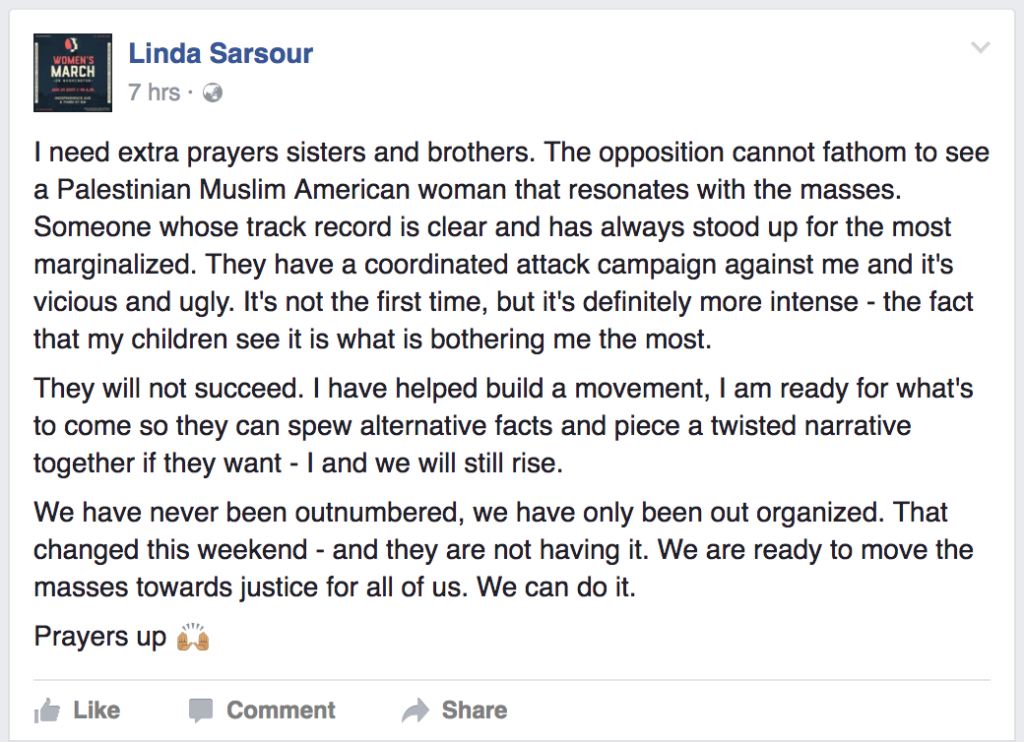 Facebook Screenshot Linda Sarsour post
