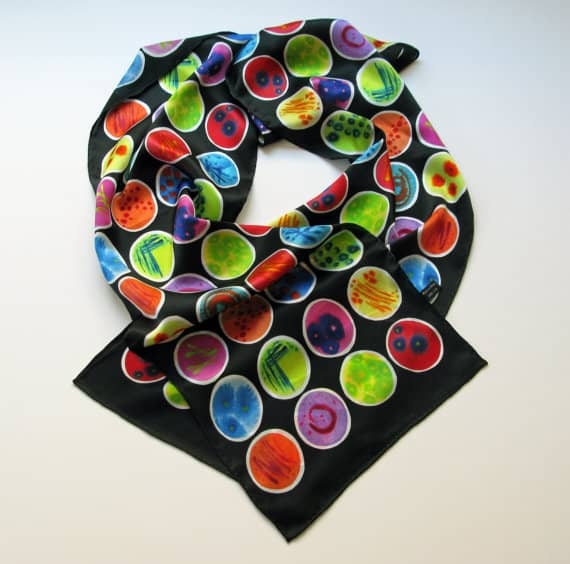 Black Petri Dishes Silk Charmeuse Scarf, by Michele Banks