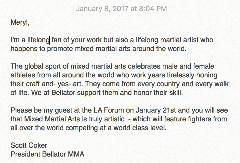 An invite to an MMA fight