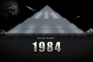 Picture of a pyramid with slogans from 1984