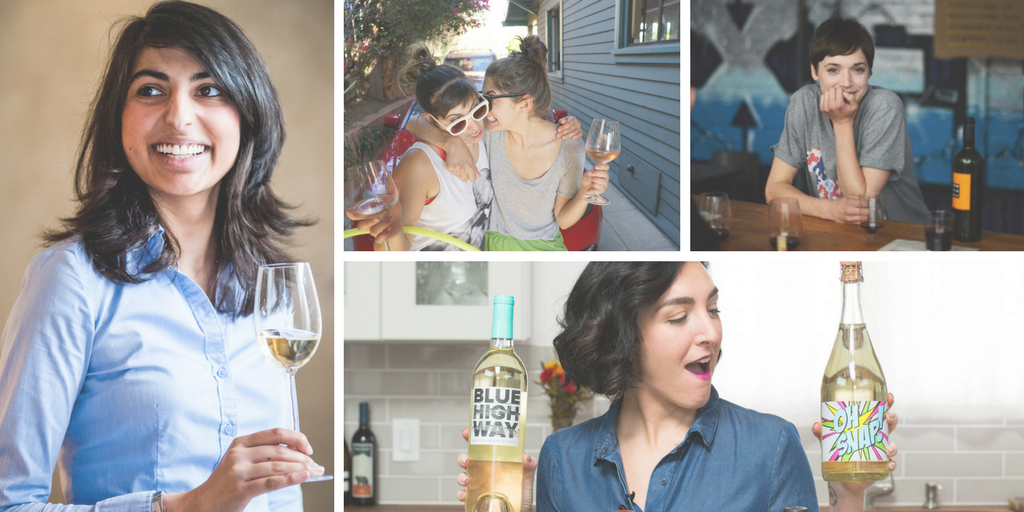 [Image Description: a compilation of photos of various women with wine in their hands.]