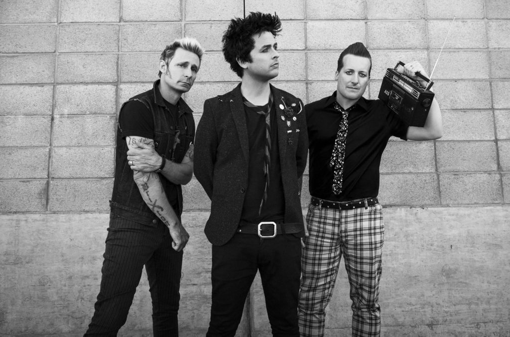 Green Day band black and white photo