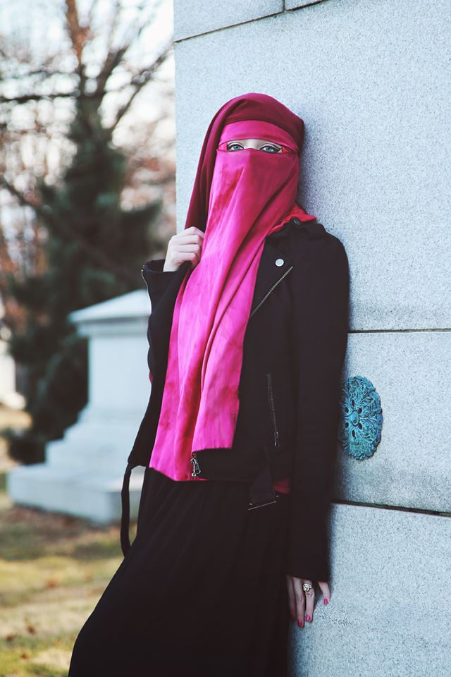 paige in pink niqab stylish