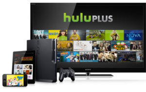 Hulu Plus on TV with compatible devices shown