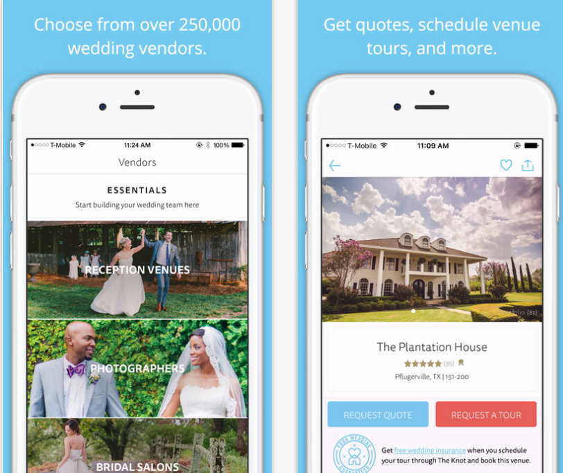 Screenshots from The Knot Wedding Planner App