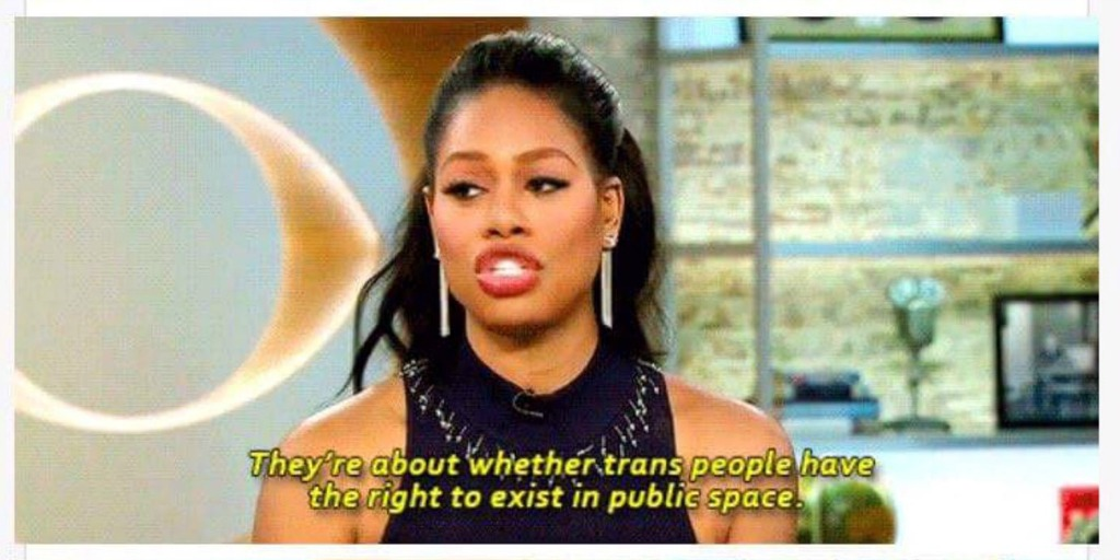 Laverne Cox talking about bathroom bills