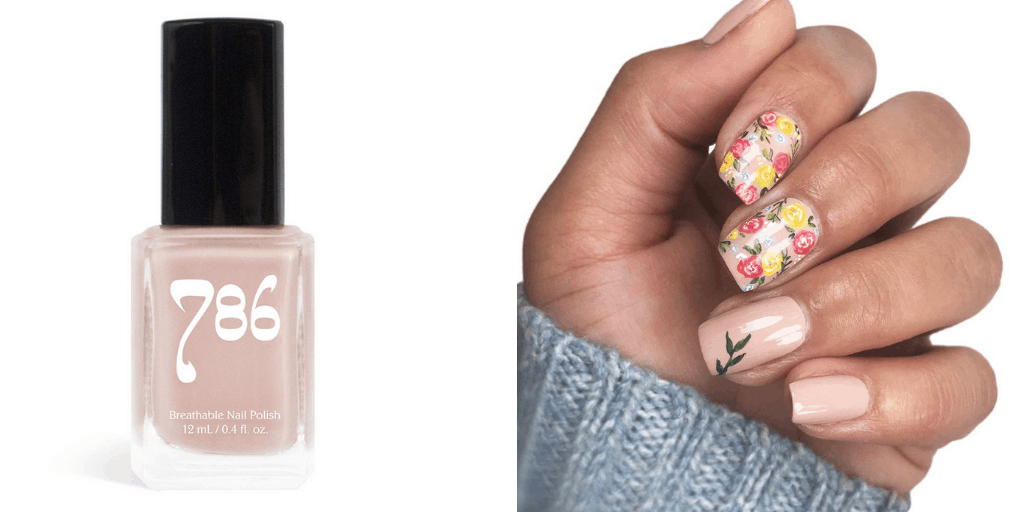 [Image description: Swatch and bottle of 786 Cosmetics nail polish.] via 786 Cosmetics