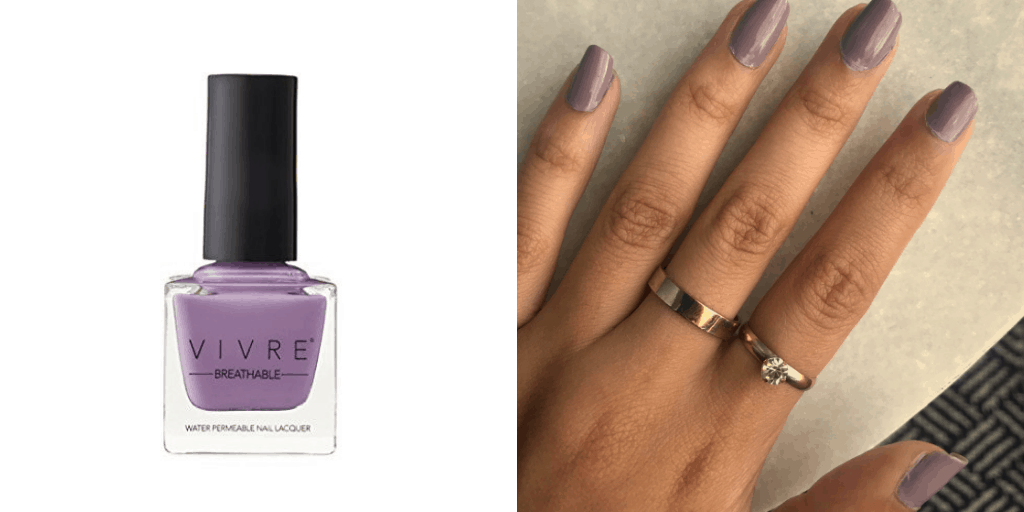 [Image description: Swatch and bottle of Vivre nail polish.] via Amazon