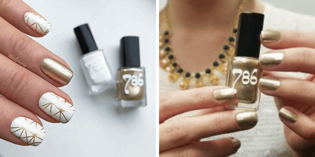 [Image description: Swatch and bottle of 786 Cosmetics nail polish.] via 786cosmetics.com