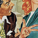 [Image Description: A cartoon of a man angrily talking to a woman.]