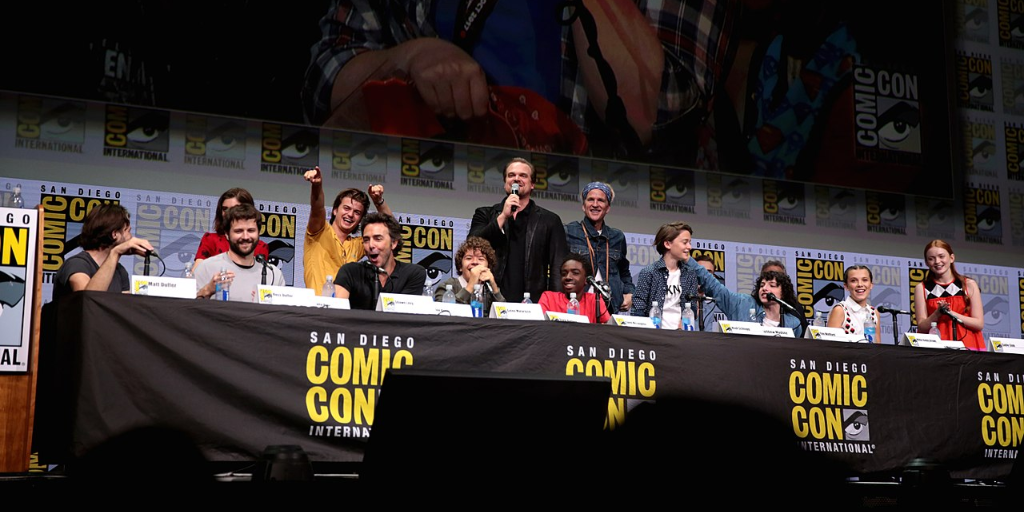 Duffer Brothers and the Cast of Stranger Things 2 on a panel at Comic Con