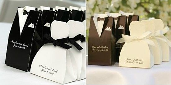 [Image description: Two images alongside one another show little gift boxes for a wedding in different lighting. The boxes are meant to symbolize the tux of a groom and the white wedding dress of a bride. Both boxes have the name of the bride and groom with their wedding date underneath. From Pinterest]