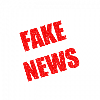 [Image Description: The words 'Fake News' written in red on a white background.]
