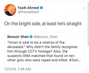 "Screenshot of Fasih Ahmed's tweet saying ""On the bright side, at least he's straight"""