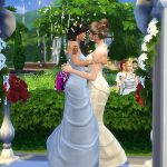 Two female-presenting Sims wear wedding dresses. They kiss under a floral arch, implying that they've just been married.