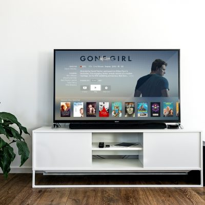 "A TV with the movie ""Gone Girl."""