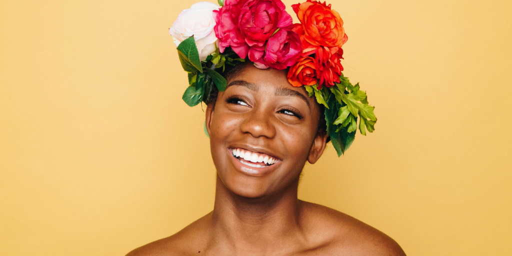 A woman with a flower crown.