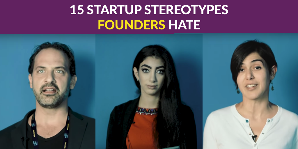Image Description: text 15 startup stereotypes founders hate. Below it is a collage of 1 man and 2 women standing in front of a blue background.