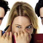 A poster from 'Bridget Jones's Diary', which includes a photo of Colin Firth, Renee Zellweger, and Hugh Grant.