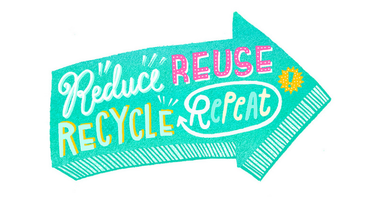 "[Image description: green arrow that says, ""reduce, reuse, recycle, repeat""]<a href=""source"">Flickr.com </a>"