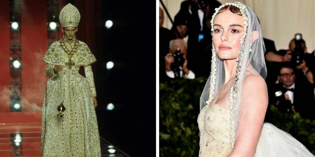 on the right Kate Bosworth at the 2018 Met Gala wearing an ensemble evocative of the Virgin Mary. On the left, an image from the Christian Dior Fall 2000 haute couture show