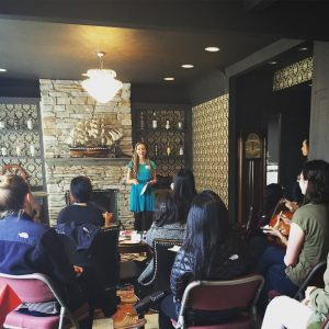Image description: A photo from Roya Sabeti's talk on women empowerment.